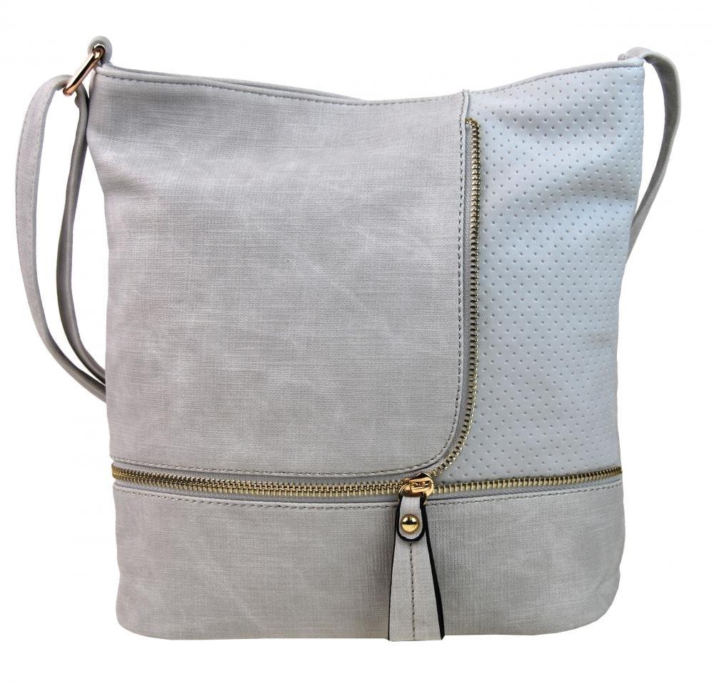 Módní crossbody kabelka se zlatými doplňky F1379 světle šedá ... 32e91a823df