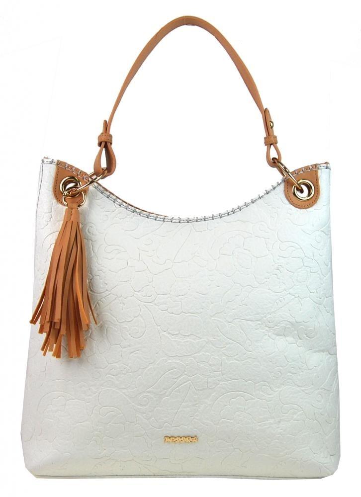 Moderní velká bílá kabelka s potiskem květin 4257-TS ... 19d953c9c54