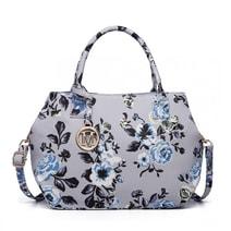 Nadčasová šedá matná kabelka s květinami Miss Lulu ae4f9fb628