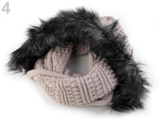 Pletený nákrčník s kapucí a kožešinou  0e0b57a9a3