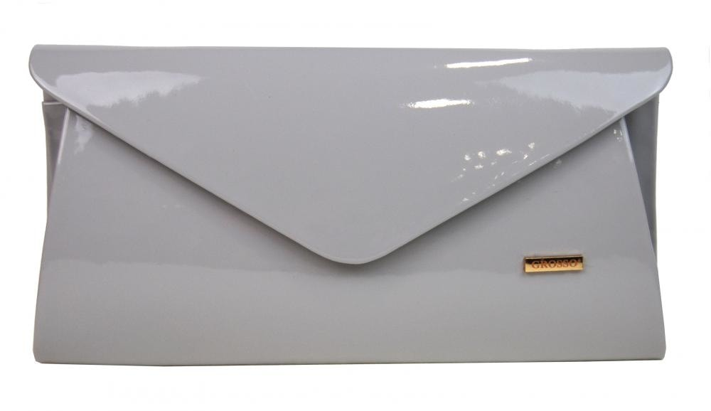 Luxusní světle šedá lakovaná listová kabelka   psaníčko SP126 ... 70b498f0a8