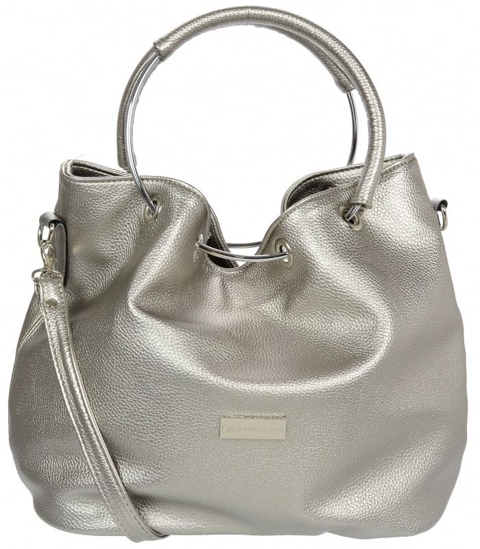 Stříbrná moderní dámská kabelka s kruhy S736 ... 8cf126bbedf