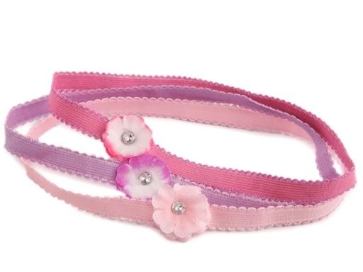 Dětská elastická čelenka do vlasů s květem sada 3 ks ... 76e4dcb373